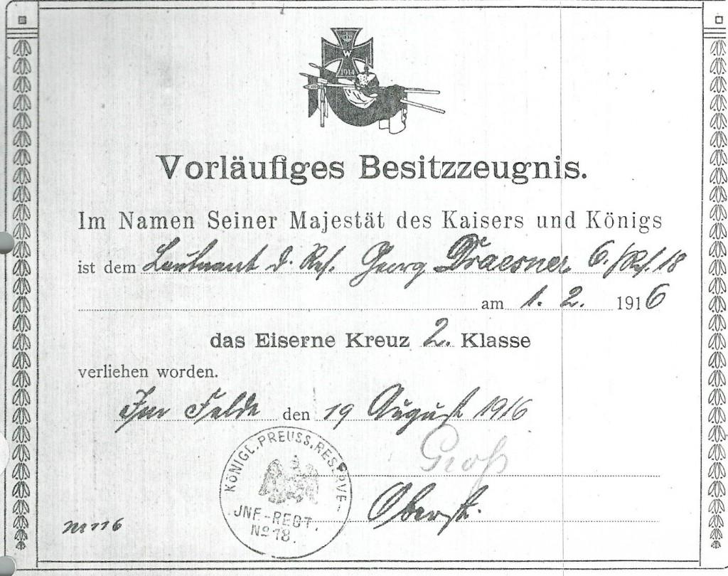 Besitzzeugnis-Eisernes-Kreuz-II-Klasse-Georg-Draesner-1916