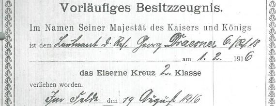 Eisernes Kreuz II. Klasse Georg Draesner