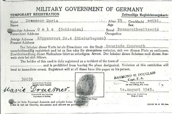 Temporary Registration Maria Draesner Oels Niederbayern #7terSprung